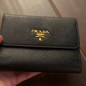 Prada Black Saffiano French Wallet